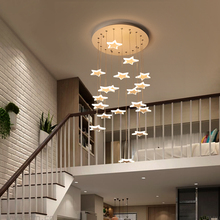 Modern staircase chandelier can be used in the Nordic villa living room lamp rotating staircase lighting LED chandelier device staircase long chandelier modern minimalist solid wood villa entrance atmosphere nordic living room creative bar duplex building