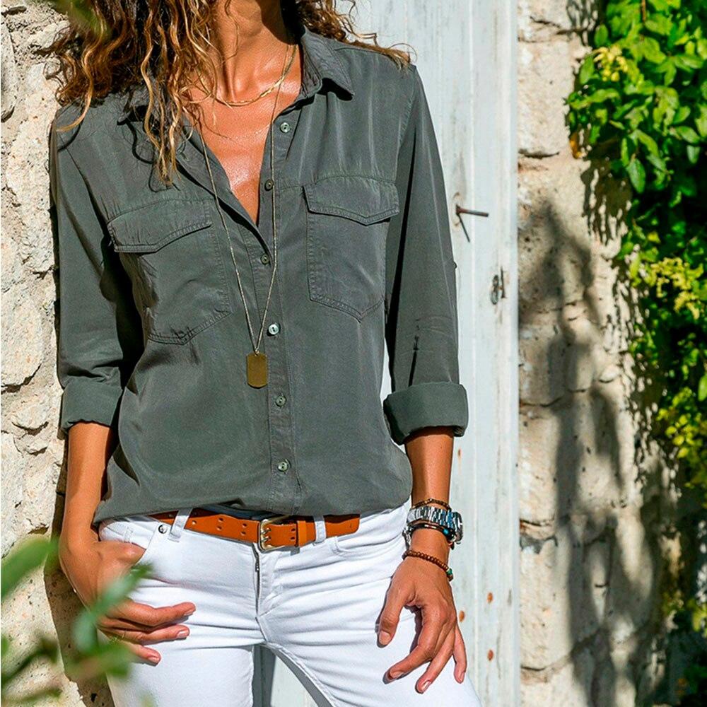 2019 novo casual solto camisas femininas outono novo plus size blusa manga comprida botões camisa branca