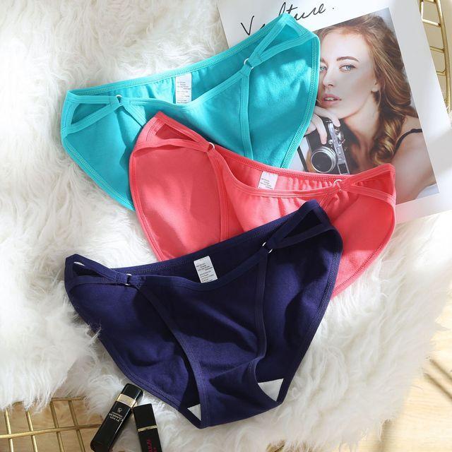 Women's Underwear Cotton Sexy Panties Mid-Waist Briefs Steel Ring Design 3