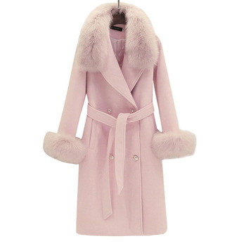 2019 Real Fur Coat Winter Jacket Women Natural Fox Fur Collar Cashmere Wool Blends Long Outerwear Ladies Streetwear