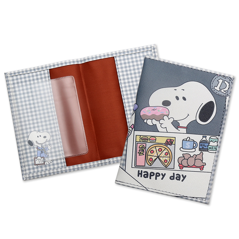 Fashion Cute Cartoon Snoopi Passport Holder Cover Wallet Men Women ID Credit Card Holders Case PU Leather Travel Passport Covers