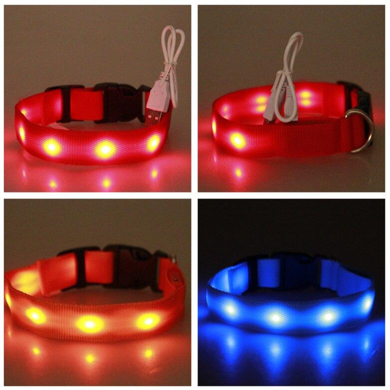 LED Pet Luminous Collar USB Charging Collar Teddy Night Light Bandana Medium-small Large Dog Cat Supplies