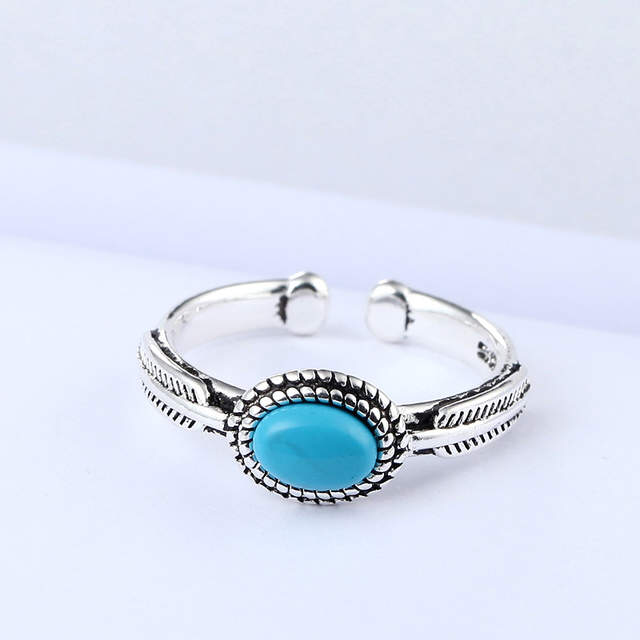 Real 925 Sterling Silver Blue Rings For Women Open Size Wedding Ring Beautiful Jewelry Drop Shipping