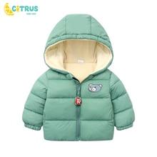 Clothing Outwear Down-Jacket Zipper Baby Winter Kids Warm Autumn Cotton Hooded CITRUS