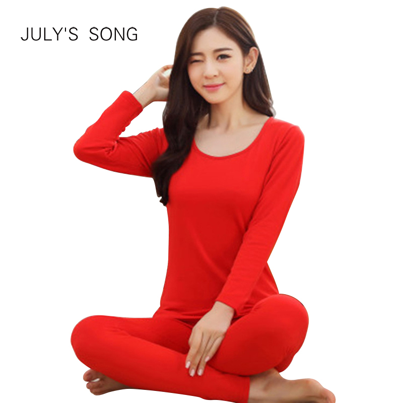 JULY'S SONG Women Coton Thermal Underwears Suit Ladies Autumn Winter Thermal Shirt Women Female Breathable Warm Underwear