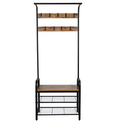 3-in-1 Entry Coat Rack Hall Tree Bench with Hooks Entryway Shoe Bench Indoor