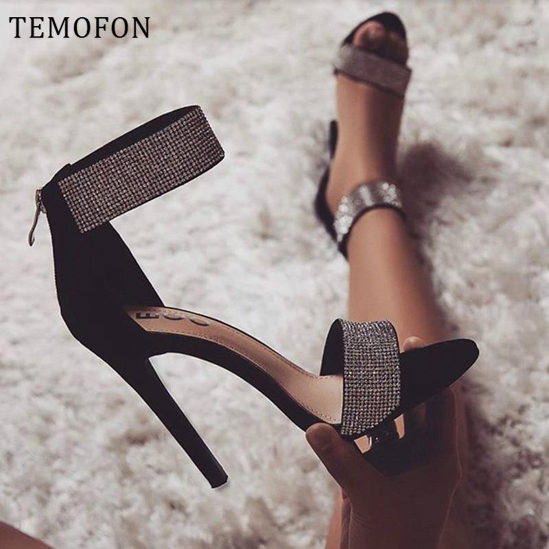 TEMOFON women shoes heels sexy stiletto high heel shoes black women rhinestone sandals summer open toe ladies pumps new HVT1213