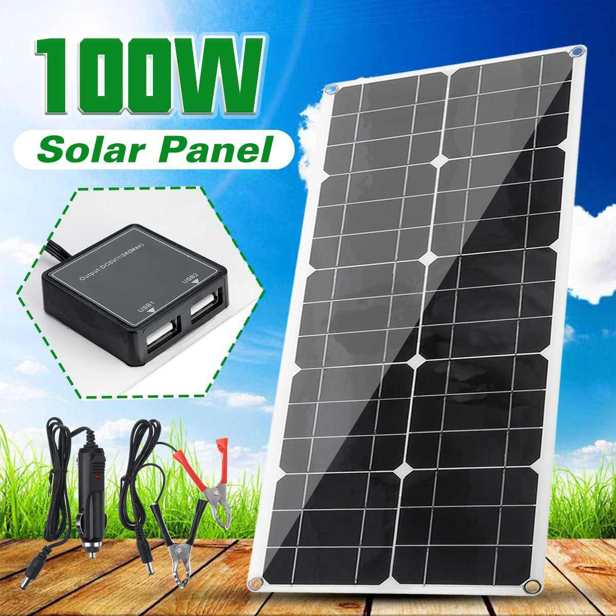 2Pcs 100W Solar Panel Flexible MonoCrystalline Silicon Solar Panel for Outdoor Cycling, Climbing, Hiking, Camping, Solar Battery