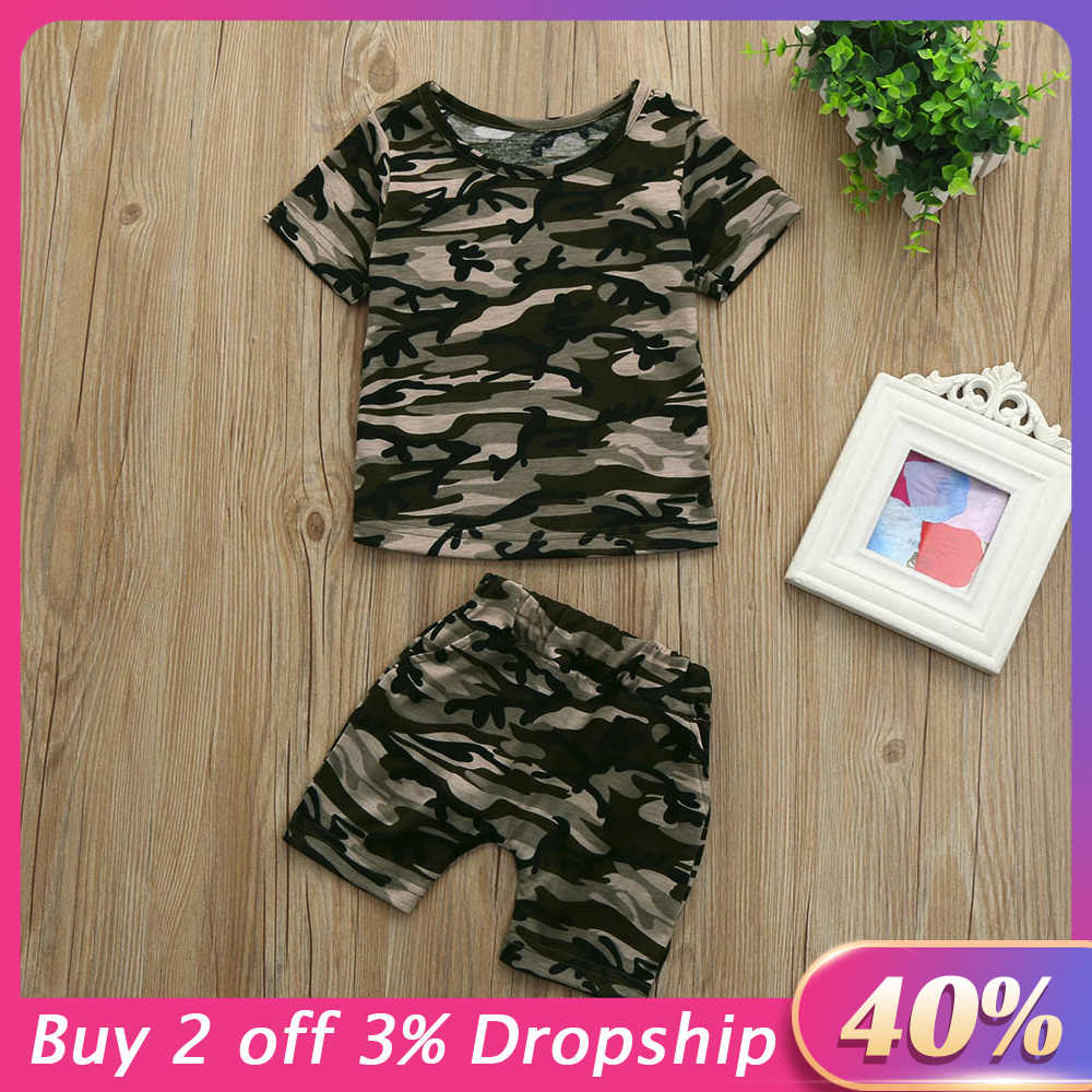 Kids Boys Camouflage T shirt Tops+Shorts Outfits Clothes Set Boys Clothes Kids Clothes Short Sleeve Baby Clothes детская одежда