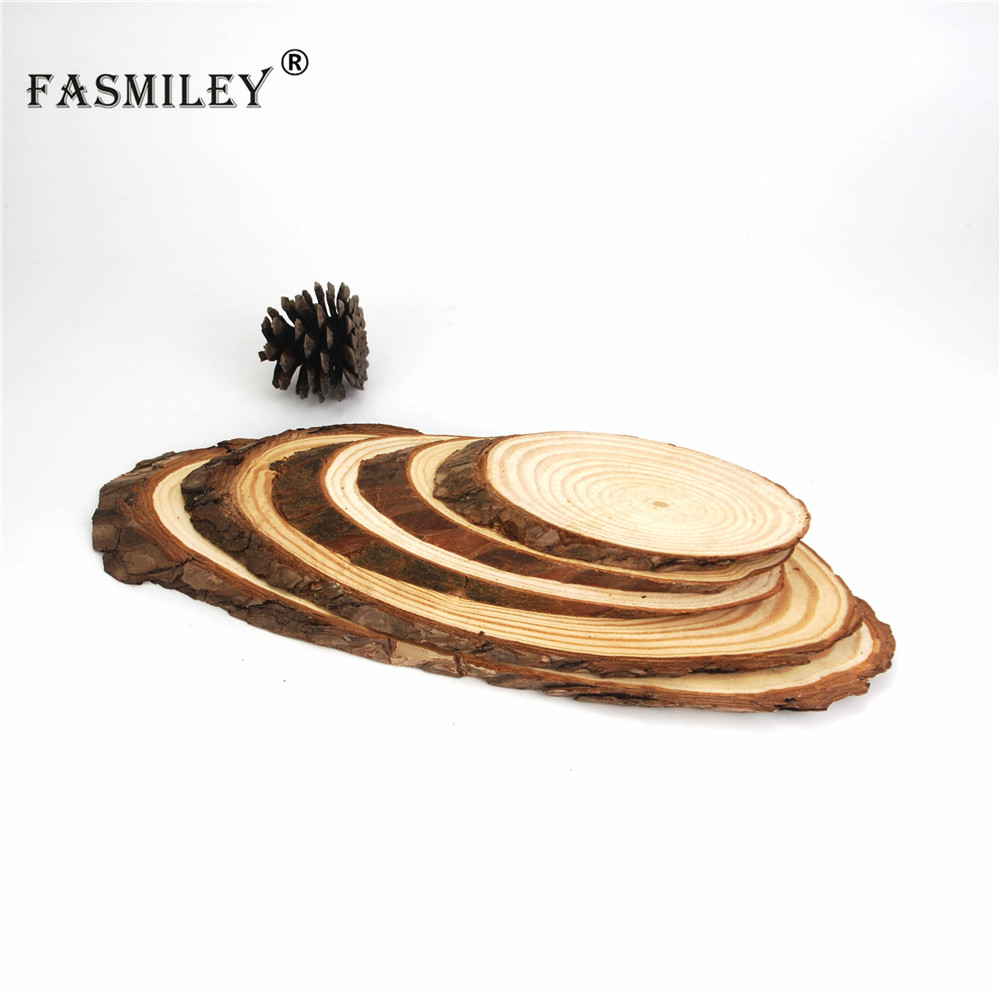 Big Natural Oval Wood Slices Circles Tree Bark Log Discs DIY Crafts Wedding Party Painting Decoration 30-35cm 1pcs Wd05