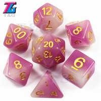 Dados que brillan en la oscuridad, plástico púrpura, poliédrico, D4, D6, D8, D10, D10, %, D12, D20, con bolsa para juego de mesa RPG, DND