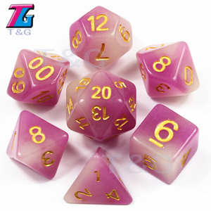 Glow In Dark Dice Mix-Color Purple Plastics Polyhedral D4 D6 D8 D10 D10% D12 D20 with Bag for RPG DND Board Game(China)