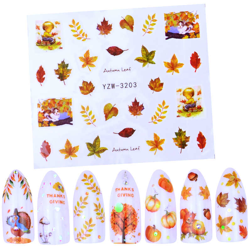 1 Lembar Musim Gugur Gaya Kuning Maple Daun Label Stiker Air Transfer Stiker Nail Art Stiker Kuku Membungkus Dekorasi