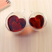 Новая стеклянная кружка в форме сердца с двойными стенками, устойчивая чайная кружка кунг-фу, чашка для молока, чашка для лимонного сока, посуда для напитков, кофейные чашки для влюбленных, кружка в подарок