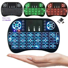 Backlit I8 Mini Wireless Keyboard Russian for For H96 Max Android TV Box Keyboard 2.4ghz Air Mouse with Touchpad Remote Control vontar 2 4ghz h1 plus wireless air mouse mini keyboard remote control standard or backlit full touchpad for pc android tv box