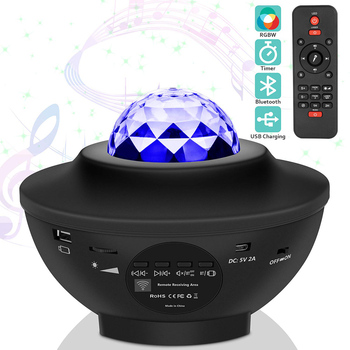 Water Wave LED Projector Light Blueteeth USB Voice Control Music Player LED Night Light Romantic Projection Lamp Birthday Gift