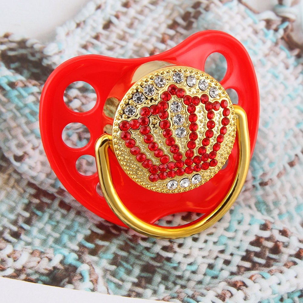Latest Red Prince Crown Luxury Baby Pacifier Dummy Bling Pacifier Newborn Silicone Nipple With Protective Lid