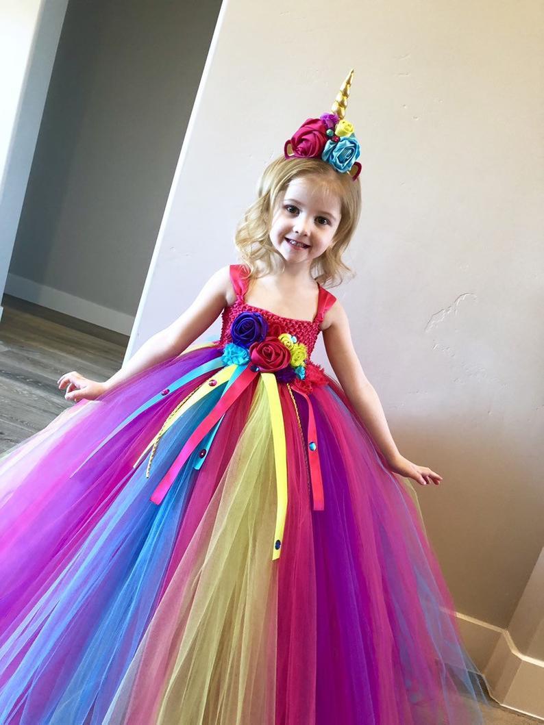 Радужное платье-пачка для девочек с единорогом и цветами, детское вязаное платье из тюля и ленты, бальное платье с бантом, Детские праздничн...