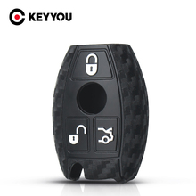 KEYYOU 10X For Mercedes benz CLS CLA GL R SLK AMG A B C S Protective Shell Carbon Silicone Car Key Case Cover 2/3 Buttons