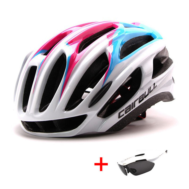 Ultralight racing ciclismo capacete com óculos de sol intergrally-moldado mtb capacete da bicicleta esportes ao ar livre montanha estrada capacete 5