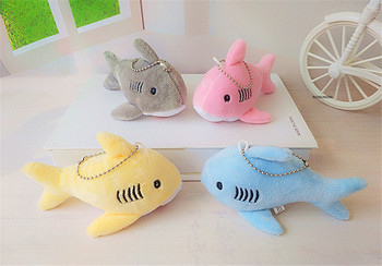12cm Mini Plush Toy Cute Shark Keychain Womens Car Keyring Pompom Key Chains Women Handbag Pendant