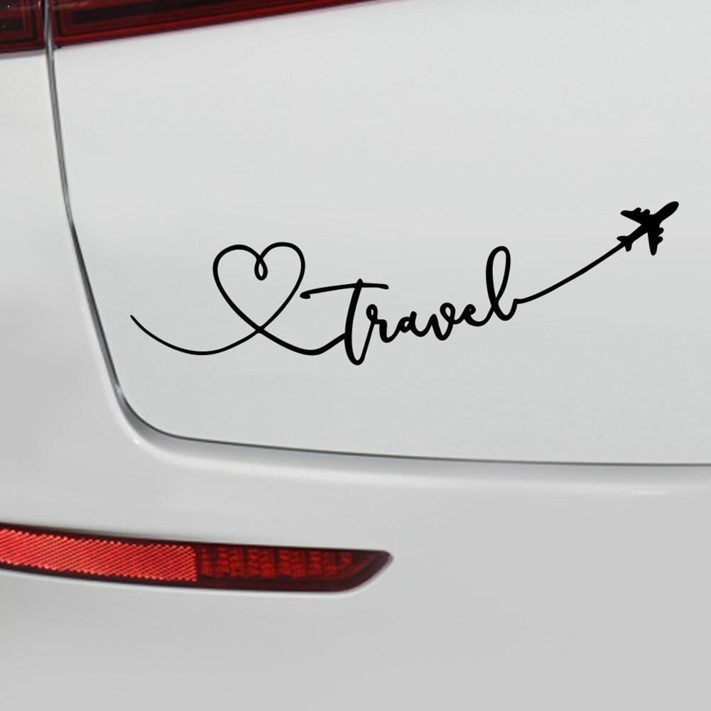 Autocollant en vinyle pour voiture G8N0, 19.5cm x 5.5cm, dessin animé intéressant amour voyage avion motif délicat, autocollant spécial
