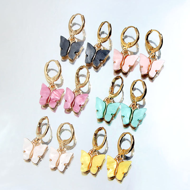 Flatfoosie Fashion Butterfly Drop <font><b>Earrings</b></font> For Women Colorful Acrylic Animal Sweet Cute <font><b>Dangle</b></font> <font><b>Earrings</b></font> Girl Jewelry Accessories image