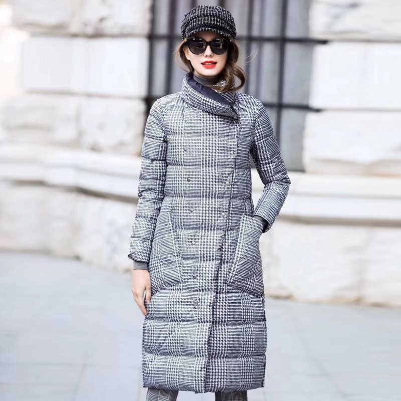 Ördek şişme ceket kadınlar kış uzun kalın çift taraflı ekose ceket kadın artı boyutu sıcak aşağı Parka kadınlar için ince giysileri 2019