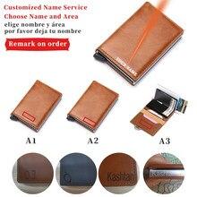 Engraving Rfid Leather Credit Card Holder Men Wallet Male Metal ID Bank Cardholder Case Tarjetero Hombre Porte Carte Kartenetui