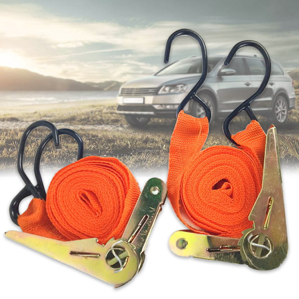 2Pcs Strong Transport Lashing Tow Equipment Motorcycle Bag Car Cargo Luggage Truck Ratchet Strap Bike Tension Rope Tie Down Belt