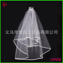 Wedding party bridal veil double ribbon serging with combs the bride hair brides decoration hen