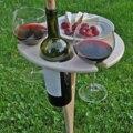 Outdoor Wein Tisch mit Faltbare Runde Desktop Mini Holz Picknick Tisch Leicht Zu Tragen Wein Rack Unterstützung Dropshipping
