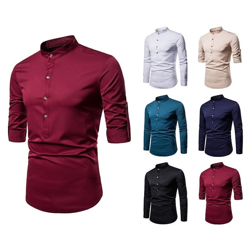 Men Henry Collar Large Size Long-sleeved Shirt A22