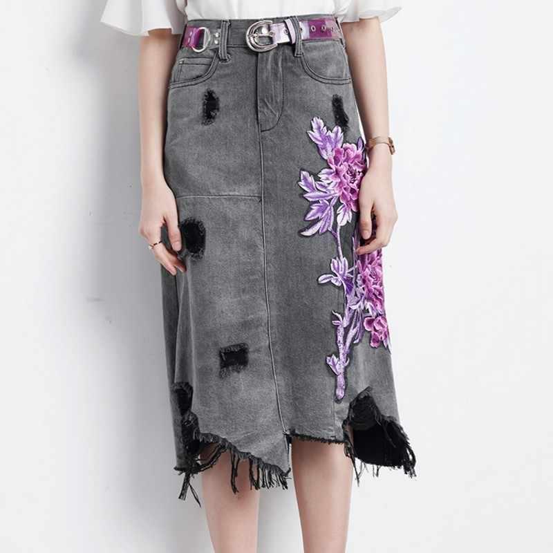 Hoge Taille Bloemen Borduren Gat Ripped Vrouwen Denim Rokken Mode Onregelmatige Tassel Knielengte Vrouwelijke A-lijn Rokken Plus Size
