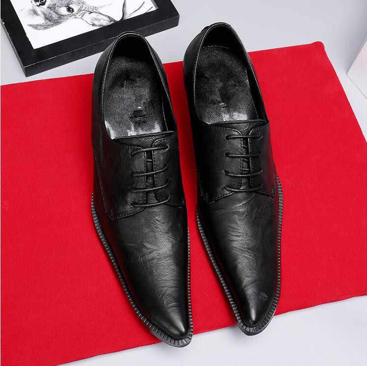 38-47 Hoge Kwaliteit Lederen Kleding Schoenen Wees Teen Nieuwe Stijl Business Bruiloft Formele Flats Zwart Handgemaakte Schoenen Voor mannen