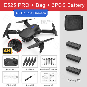 E525 PRO RC Quadcopter Profissional Obstacle Avoidance Drone Dual Camera 1080P 4K Fixed Height Mini Dron Helicopter Toy 13