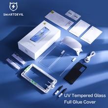 SmartDevil 풀 접착제 UV 강화 유리 삼성 갤럭시 S21 울트라 UV 스크린 프로텍터 삼성 S20 플러스 참고 20 울트라