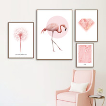Nordic Posters And Prints Pink Flamingo Wings Dandelion Diamond Wall Art Canvas Painting Wall Pictures Kids Girl Room Bedroom