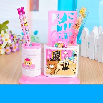 1set Cartoon Pencil Ruler Earser Sharpener 7 In 1 Stationery Set for Kids Gift School Children Student with Mold and Pen Holder