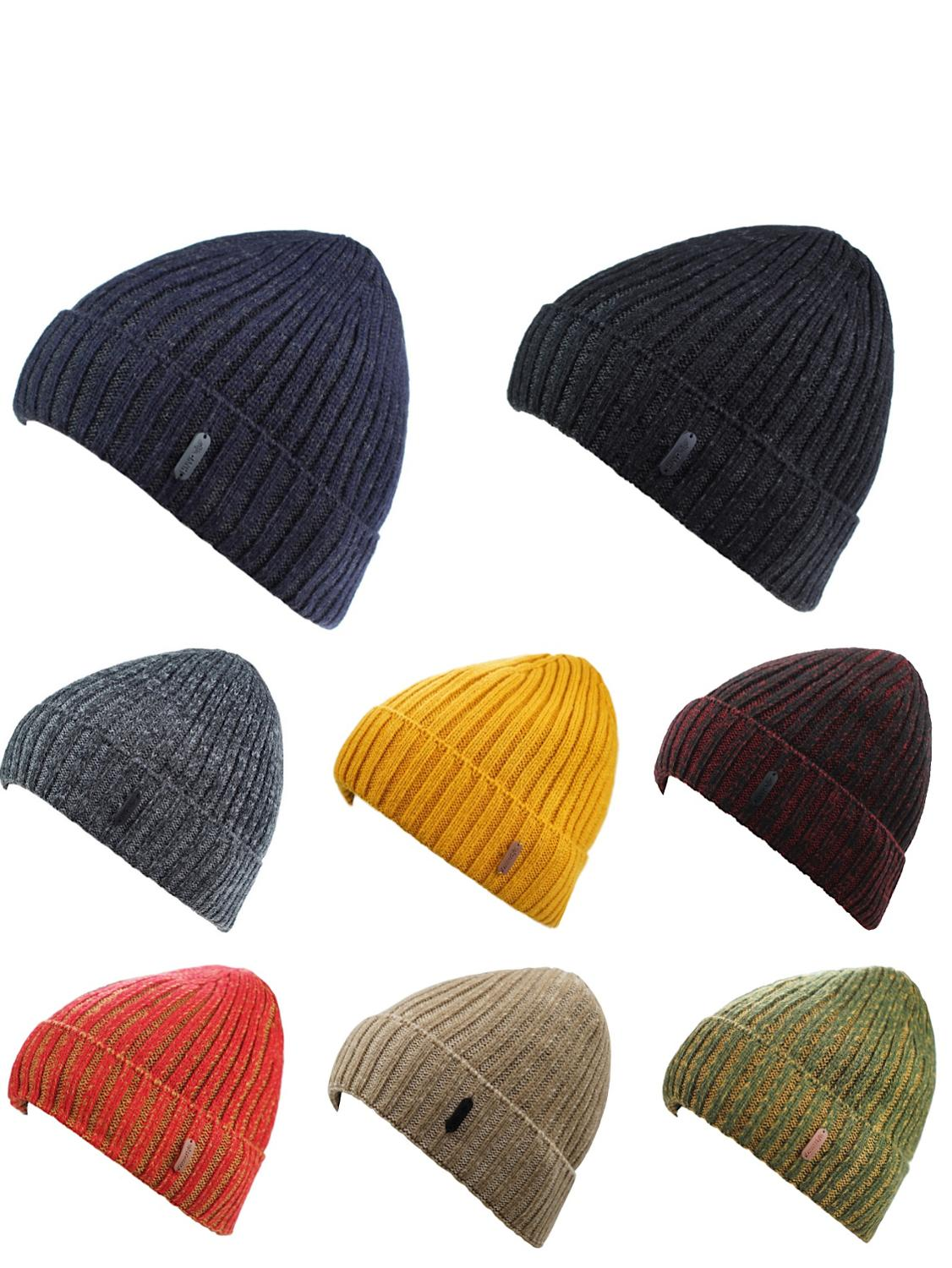 Connectyle Classic Fashion Men's Warm Winter Hats Thick Rib Knit Cable Cuff Beanie Watch Cap With Fleece Lining Skull Cap