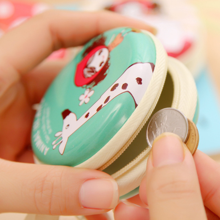 Korean Style Creative Cute Pula Girl Mini Earphone Bag Tinplate Small Round Purse
