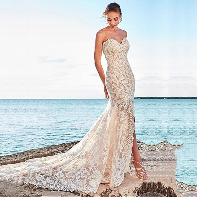 High Quality Lace Appliques Mermaid Wedding Dress With Slit 2019 New Sexy Fishtail Wedding Gown Bride Dress Vestido De Noiva