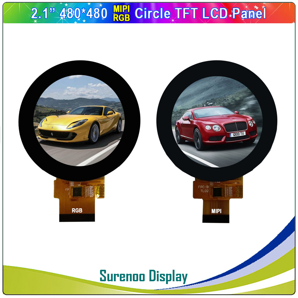"""2.1"""" 480X480 Round Circle SPI/RGB MIPI IPS LCD Module Monitor Screen Display With FT3267 I2C Capacitive Touch Panel"""