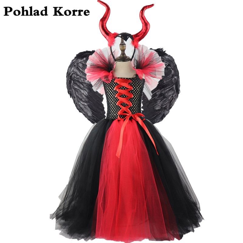 Kids Black Red Maleficent Queen Girls Tutu Dress Halloween Costume Cosplay Bandage Wing Horn Princess Party Girls Dresses Up XX0