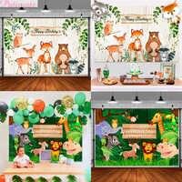 Woodland Tiere Geburtstag Partei Hintergrund Gungle Partei Hintergrund Glücklich Geburtstag Party Dekoration Kinder Dschungel Safari Partei Liefert