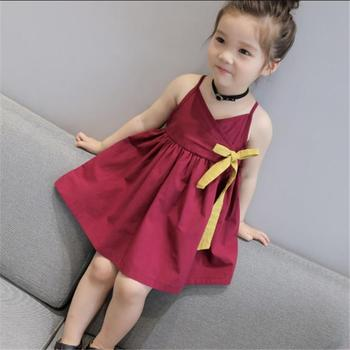 2020 NEW Children Clothes Girl Dress Summer New Girls Korean Solid Color Strap Ribbon Dresses Kids Clothing 2 3 4 5 6 7 8 Years summer girl clothes new strap dress rose print children s wear vestidos baby 4 11 y children quality clothing 2019 hot sale
