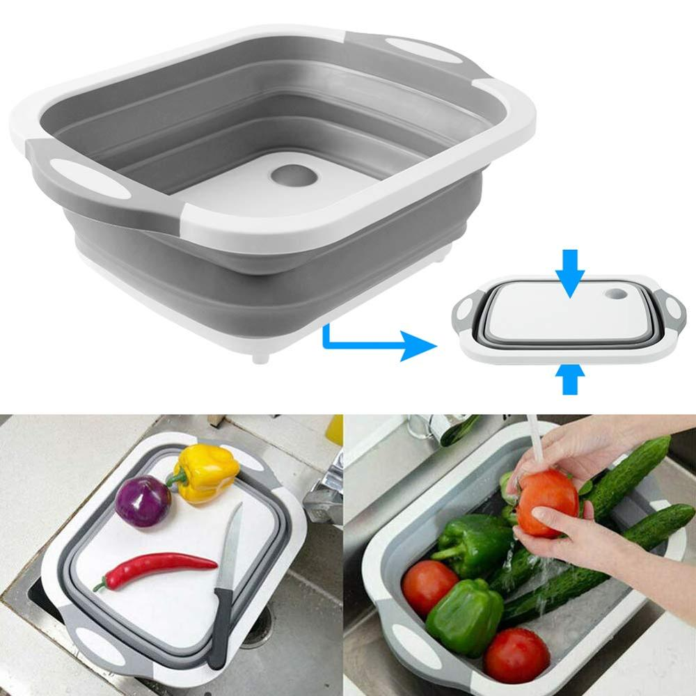 Chopping-Board Dish-Tub Drying-Rack Wash-Strainer Vegetable-Basket Folding Portable Sink
