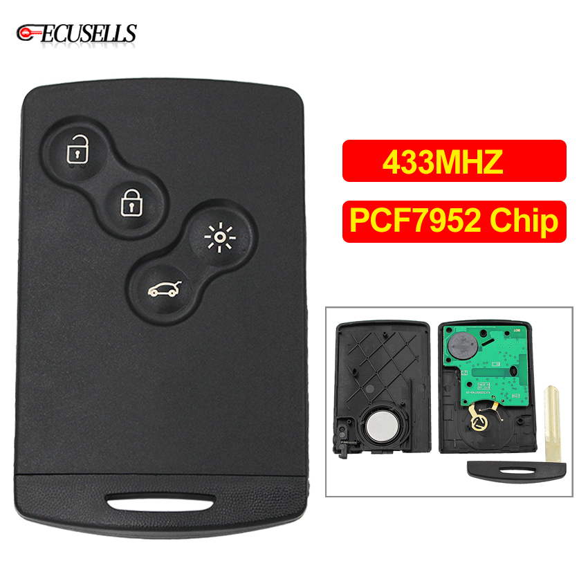 Key Fob 4 Button 433Mhz PCF7961 for Renault Megane 3,Scenic 3,Clio 4 2009-2014