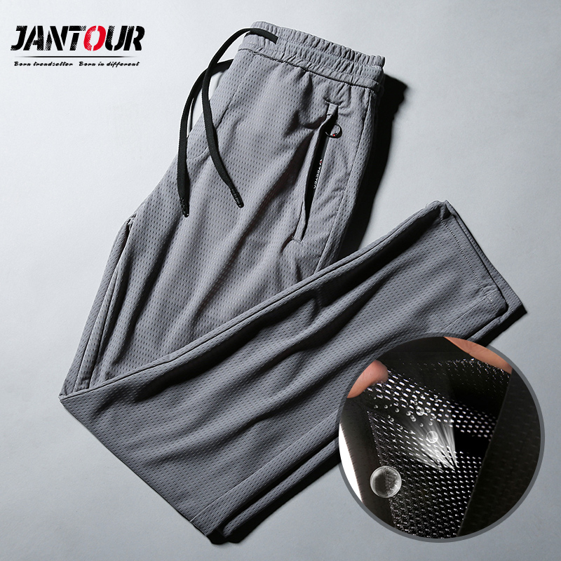 Brand Men's Casual Pants 2020 Breathable New Style Business Fashion Thin Mesh Section Solid Color Trousers Male