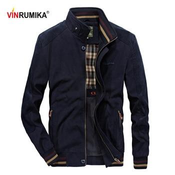 Europe Style Large Size M-5XL Mens Classic Brand Autumn 100% Cotton Khaki Zipper pocket Jackets Coat Man Spring Black Blue Coats